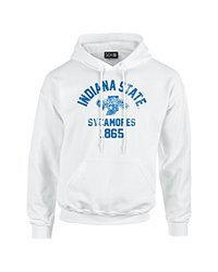 NCAA Indiana State Sycamores Mascot Block Arch Long Sleeve Hoodie, Medium, White