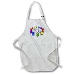3dRose 20X30-Inch Lollipop Clock Full Length Apron with Pockets - White