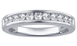 14K White Gold 1/2 CTTW Round Diamond Band - Size: 6