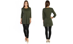 Nelly Women's Ribbed Tunic - Olive - Size: Medium