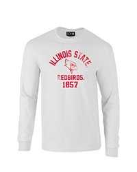 NCAA Illinois State Redbirds Mascot Block Arch Long Sleeve T-Shirt, Small, White
