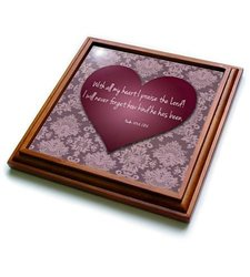 """3dRose trv_41129_1 Vintage Valentine Heart in 3D with Psalm 103 Verse 2 on a Pink Lace Texture Background Trivet with Ceramic Tile, 8 by 8"""", Brown"""