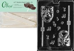 CybrTrayd 45St50-J019 Comedy& Tragedy Lolly Mask Jobs Chocolate Candy Mold