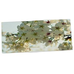 "KESS InHouse Robin Dickinson ""Cherry Blossoms"" White Flower Office Desk Mat, Blotter, Pad, Mousepad, 13 x 26-Inches"