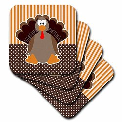 3dRose cst_110660_3 Cute Cartoon Turkey on Orange and Brown Pattern-Ceramic Tile Coasters, Set of 4