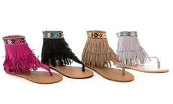 Rasolli Women's Ankle-High Gladiator Sandals - Grey-Size: 10