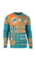 Klew Nfl Men's Miami Dolphins Busy Block Ugly Sweater - Green - Size: S