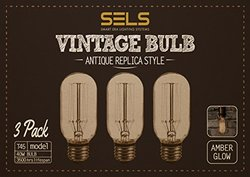 SELS T45 Incandescent Vintage bulb 40 watts E26 Squirrel Cage filament bulb Amber 120V 1910 Edison Bulb Style - 3 Pack