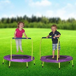 Kids & Toddlers 36_ Mini Trampoline with Handle - Lime Green & Purple