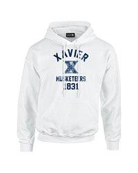 NCAA Xavier Musketeers Mascot Block Arch Long Sleeve Hoodie, Medium, White