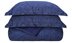 Superior 600TC Cotton Blend Paisley Duvet Cover Set - N Blue - Size: F-Q