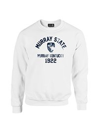 NCAA Murray State Racers Mascot Block Arch Crew Neck Sweatshirt, Large, White