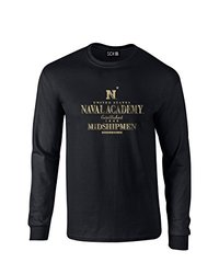 NCAA Navy Midshipmen Stacked Vintage Long Sleeve T-Shirt, Small, Black