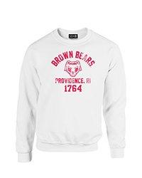 NCAA Brown Bears Mascot Block Arch Crew Neck Sweatshirt, Small, White