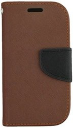 HR Wireless PU Leather Wallet Case for Samsung Galaxy Exhibit - Dark Brown