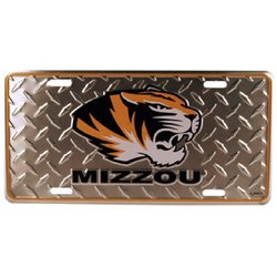 NCAA 32545 Missouri Tigers Car Tag Diamond Plate