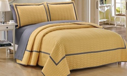Chic Home 7 Piece Ellery Quilt Set - Yellow - Size: King