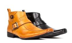 Bonafini Men's Dress Boots with side zipper Buckle strap design-Black-11