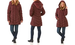 Merlot Semi Memory Hooded Chevron Quilted Coat - Merlot - Size: Medium
