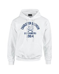 NCAA Charleston Southern Buccaneers Mascot Block Arch Long Sleeve Hoodie, X-Large, White