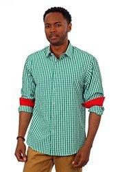 Gingham Plaid Long Sleeve Shirts: Green/large