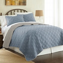 Single Stich Reversible Coverlet (3-pack): Lattice-denim-silver/queen