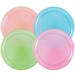 Party Dimensions 9-inch Neon Mix Plastic Plate - Assortd - 20 count
