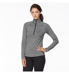 Copper Fit Women's Half-Zip Long-Sleeve Pullover Top - Heather Gray - XL