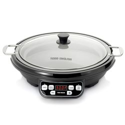 """Todd English Multifunction 14"""" Ceramic Griddle Pan & Induction Cooker"""