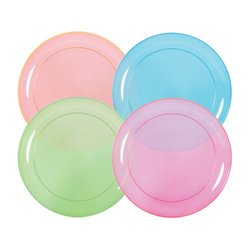 """Party Dimensions 6"""" Neon Mix Plastic Plate - Packof 40"""