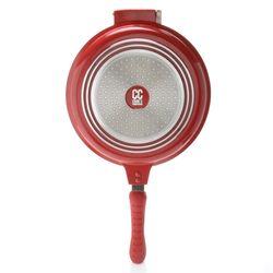 Cook's Companion Cast Aluminum Ceramic Nonstick Flip-around Pan - Red
