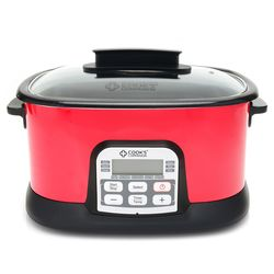 Cook's Companion 6.5 Qt Ceramic Nonstick 11-in-1 Digital Cooker - Red