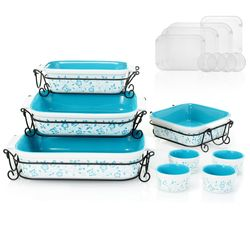 Cook's Companion 20-Piece Ceramic Oven-to-Table Bake & Serve Set - Blue
