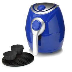 Cook's Companion 2.2 Qt. High-Speed 1200W Air Fryer with Baking Cups & Trivet - Blue