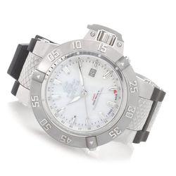 Men's 50mm Swiss Quartz Polyurethane Strap Watch w/1Slot Dive Case -Silver