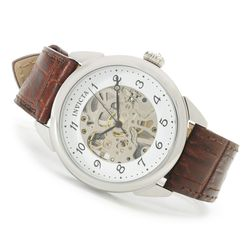 Invicta Vintage 42mm Mechanical Skeletonized Dial SS Leather Strap Watch