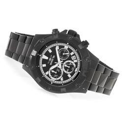 Men's 45mm Triton Quartz Chronograph Bracelet Watch w/3Slot Dive Case -Blk