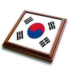 """3dRose trv_28259_1 South Korea Flag Trivet with Ceramic Tile, 8 by 8"""", Brown"""