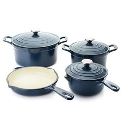 Cook's Companion 7-Piece Stick-Resistant Cast Iron Cookware Set - Navy