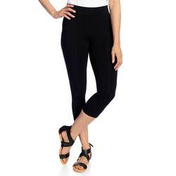 Kate & Mallory Women's Knit Pull-on Capri Leggings - Black - Size: Large