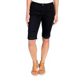 """Women's 13"""" Inseam Stretch Woven Cuffed Slim Bermuda Shorts - Black - 24W"""