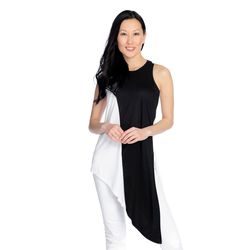 Women's Dramatic Asymmetrical Sleeveless Tank Top - White/Black - Sz: 1X