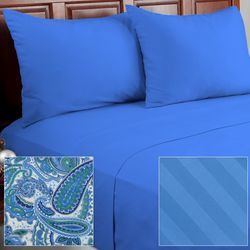 Cozelle 12-Piece Solid/Striped/Paisley Microfiber Sheet Set - Cadet/King
