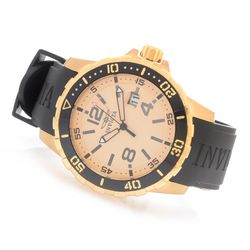 Invicta Men's 45mm Specialty Quartz Pu Strap Watch - Goldtone/Goldtone
