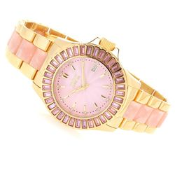 Women's 38mm Collins Quartz Swarovski Stainless Bracelet Watch - Pink