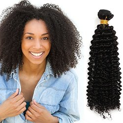 Women's Virgin Mongolian Afro Kinky Curly Black Hair Weave Extensions