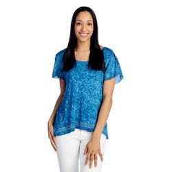 One World Women's Short Tulip Sleeve Tie-Dye T-Shirt - Blue - Size: 2X