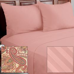 Cozelle 12pc Solid/Striped/Paisley Microfiber Sheet Set - Morganite/Full