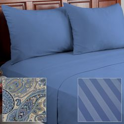 Cozelle 12-Piece Solid/Striped/Paisley Microfiber Sheet Set - Blue/Full