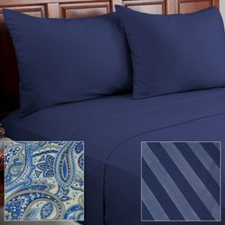 Cozelle 12pc Paisley Print Microfiber Sheet Set - Navy/California King